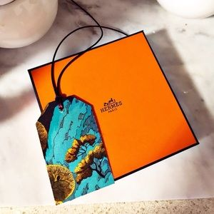 Auth. Hermes Petit H Silk Luggage Tag